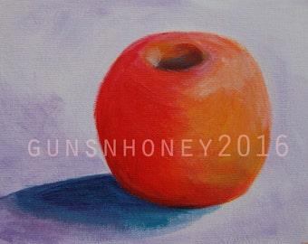 Purple Baby Honey Crisp Apple Original Painting Acrylic on Canvas Board gunsnhoney