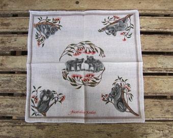 Vintage Ladies Handkerchief - Australian Souvenir - Koalas
