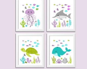 Purple, green and turquoise Nautical nursery art print set -UNFRAMED- baby girl wall art, whale, shark, sea turtle, octopus, fish, crab