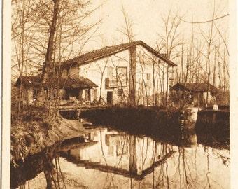 Italian Postcard Old cottage, vintage unused postcard 1930s - 1940s, sepia photographic postcard