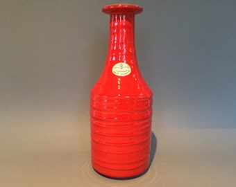 Manfred Buchholz Studio Pottery, height 28 cm Ceramic from Master hand,  rare stunning red / orange Vase 1970s -  West Germany Pottery. WGP.