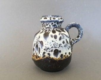 Jasba Keramik  cute little , rare glaze, Vintage Mid Century Modern  1970s ceramic handled vase  -   West Germany Pottery WGP.