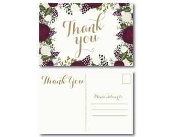 PRINTABLE Thank You Postcard, Printable Thank You Card, Wedding Thank You, Thank You Card, Thank You Postcard, Wedding Postcard #CL123