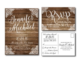 Rustic Wedding Invitation - Country Chic - Fall Wedding - Printable Wedding Invitation - Rsvp Postcard - Wedding Rsvp #CL166