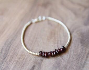 Garnet & Silver // Tiny Silver Beads and Dark Red Gemstone Bracelet