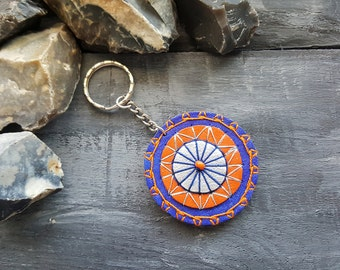 Mandala keychain. Leather keychain. Handmade boho keyring. Keyfob. Tribal keychain. Leather accessories. Boho keychain. Blue keychain.