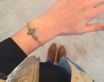 LIMITED EDITION Green Jade Stone Cross Bead Bracelet w/ Gold Chain