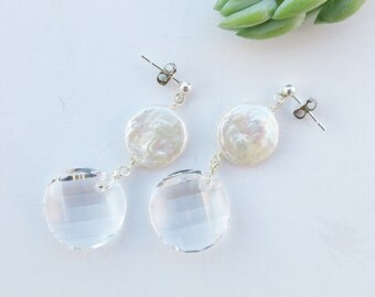 Sterling Silver, Freshwater Pearls and Swarovski Drop Earrings.