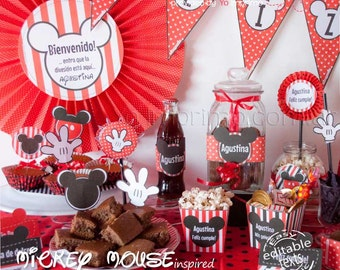 Mickey Mouse Printable Party Decoration Kit   50% off !!!
