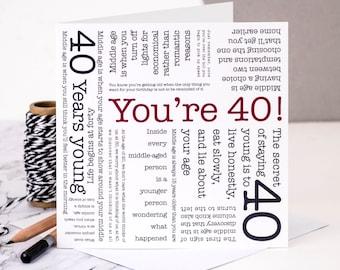 40th Birthday Card; You're 40!; Milestone Birthday; 40th; 40 Birthday; Card For 40; Happy 40th; GC121