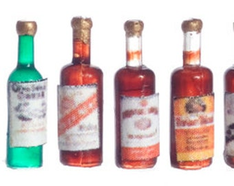 DOLLHOUSE MINIATURES LIQUOR Bottles #FA33020-FA40090-FA40130-FA40313-FA40314
