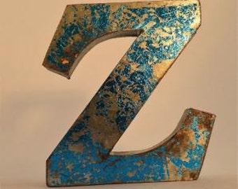 A fantastic vintage style metal 3D blue letter Z