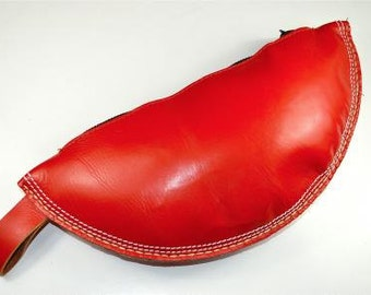 A red leather vintage style cricket ball wash bag pencil case make up bag