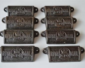 A set of 8 vintage style cast iron Royal Mail GPO drawer pulls GPO