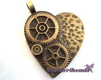 1x Large Steampunk Cog Wheel Heart Pendant 42 mm - Antique Gold