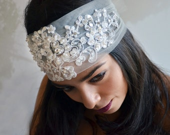 Boho Bridal Headband, Bohemian Wedding Headpiece, Bridal Lace Headband