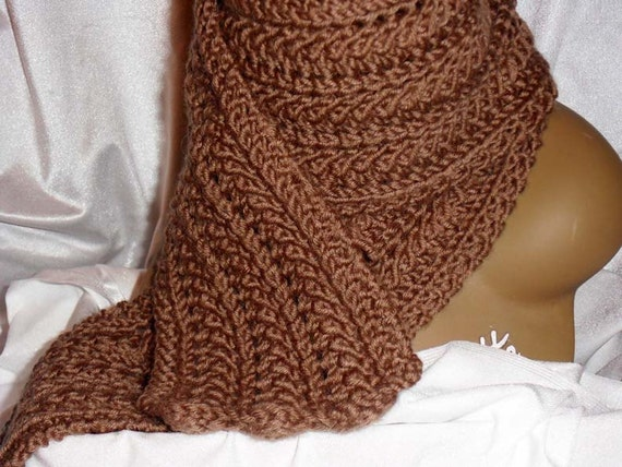 Skinny Knit Scarf Pattern : Beautiful Hand Knit Skinny Scarf with Lace Pattern Sable