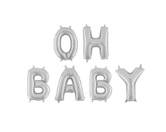 Oh Baby Letter Balloons, Oh Baby Silver Banner, Silver Gender Reveal Balloons, Silver Baby Shower Letter Balloons, Silver Letter Balloons