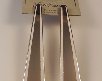 Vintage Laurel Burch 1980s Long Gold Tone Enamel Cloisonne Pierced Earrings New Old Stock