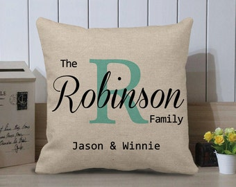 Last Name Pillow, Personalized Pillow, Wedding Gift, Anniversary Gift, Custom Pillow, Monogram Pillow, Family Pillow, Burlap Pillow Cover
