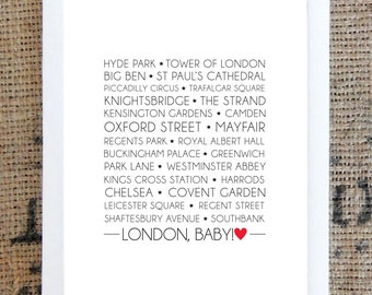London, Baby! - London landmarks typography print. Digital Download.