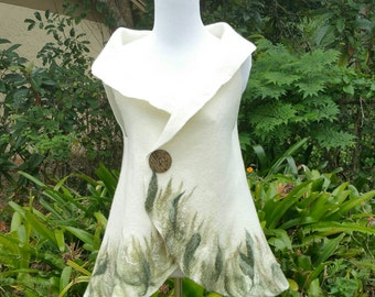 Nuno Felted Vest in Creamy White with Red Poppies. Felted Wearable Fiber Art Clothing. Sleeveless Boho Nuno Felt Jacket.