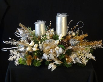Lighted Silver Platinum Christmas Arrangement,Holiday Wedding Arrangment,Luxury Arrangement,Christmas Centerpiece,Christmas Wedding Decor