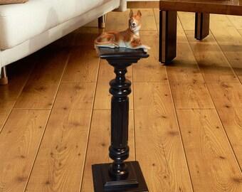 Black Plant Stand / Wood Pedestal Table / Wooden plant holder