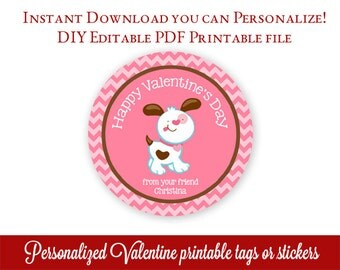 Valentines Day Tags, Printable Class Valentines, Kids Valentines, Personalized Valentines Cards, Editable PDF with Adobe Reader