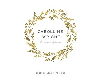 Premade Logo  Custom Logo Design  Wreath Logo  Gold Logo  Blog Logo  Bussines Logo  Choose your Logo Color  Etsy shop Kit