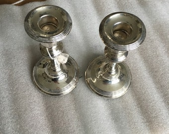 Elegant pair of Chester sterling silver candlesticks