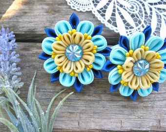 Kanzashi baby hair ties Blue flower children jewelry set 2 hair clip Mom from daughter hair clip set Ribbon flower hair clip Ponytail holder