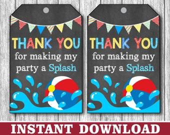 Pool Party Favor Tags -  Beach Ball Birthday Party Favor Tags - Printable Digital File - INSTANT DOWNLOAD