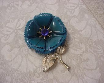 Blue Enamel Rhinestone Flower Pin Brooch   ~ Gorgeous