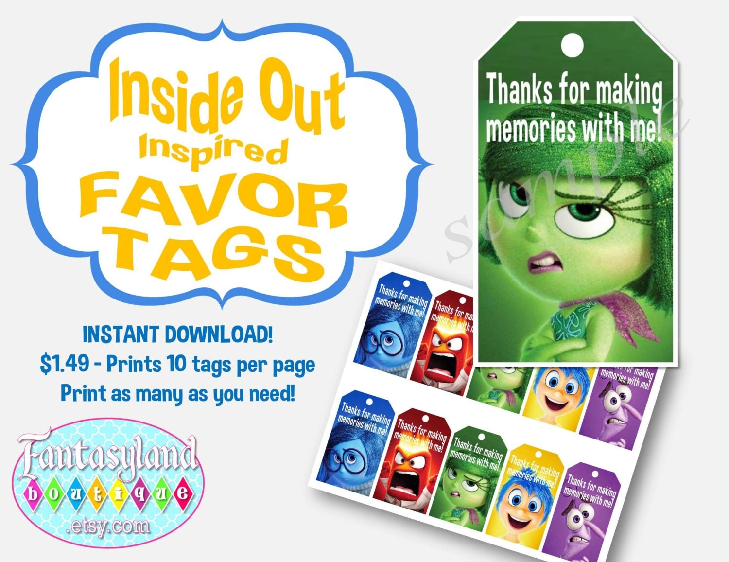 inside out inspired favor tags movie birthday party digital. Black Bedroom Furniture Sets. Home Design Ideas