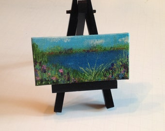 Original mini painting on easel