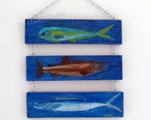 Fish Painting, Beach Decor, Coastal Art, Father's Day, Pallet Art, Wall Hanging, Gifts, Mahi Mahi, game fish