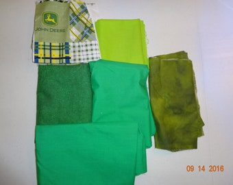 Shades of Green Cotton Fabric Remnant Pieces
