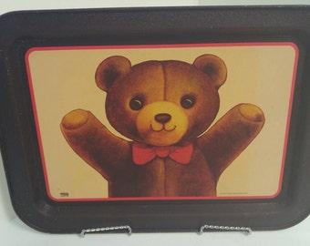 Vintage Bristol Ware Teddy Bear Tray, Snack Tray, TV Tray