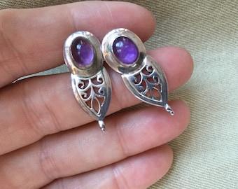 Purple Cabochon Earrings -- 66