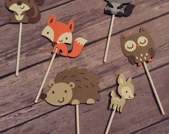Woodland Animal Cupcake Toppers, set of 12 or 24
