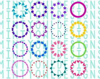 SVG Cut File - Monogram Frame Set - Cricut - Silhouette - Create Your Own Design - Hearts - Arrows - Frame - Tribal - Mix & Match