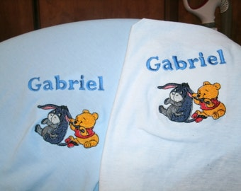 Pooh and Eeyore Personalized Infant Toddler Baby Blanket & Bib Set Jungle Any color