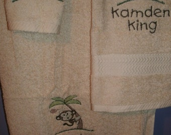 Monkey in a tree Jungle Bath, Hand Towel  & washcloth Personalized Towel Set
