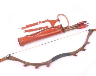 MAYARMS Unicorn Snakeskin Archery Bow Hunting Longbow Traditional Archery Set Arrow Quiver 6PCS Target Arrows Fiberglass Bow
