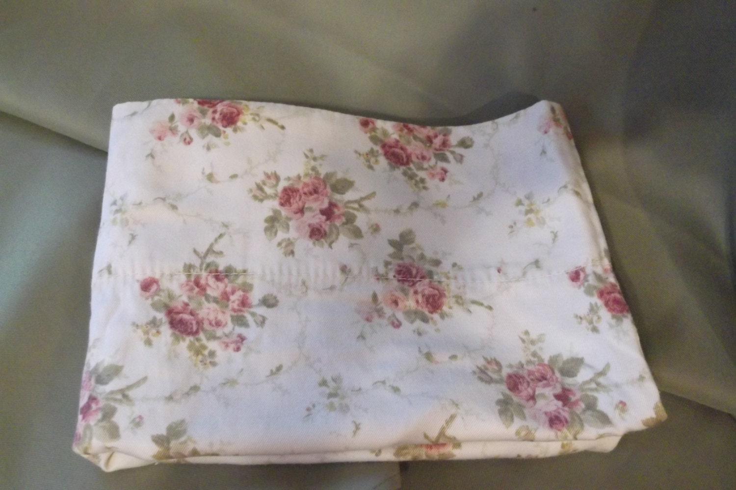 Pillowcases TWO standard size sateen shabby chic roses
