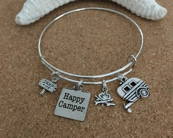 HAPPY CAMPER Bracelet-Silver-Plated Bangle, Camp Fire Charm/Camper Charm/Camp Sign Charm, Adjusts-Fits Most Ladies, RV, Camping, Outdoors