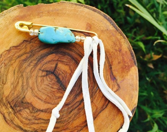 Handmade Turquoise Safetypin Brooch leather