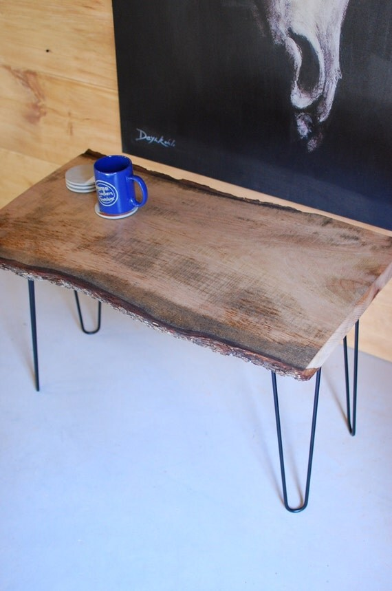 Tree slice coffee table with retro mid by sumsouthernsunshine for Tree slice coffee table