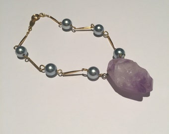 Amethyst and Vintage Brass Bracelet